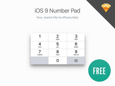 iOS 9 Number Pad (iPhone 6/6s) sketchapp ux ui sketch free san francisco numberpad number pad iphone ios9 ios