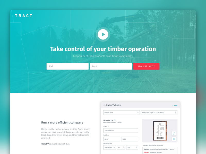 TRACT™ Website teal fira sans play survey timber forms sales ux ui trees tract