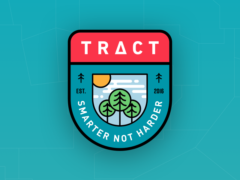 TRACT™ Badge badge patch din rift red teal tree pine clouds timber sun