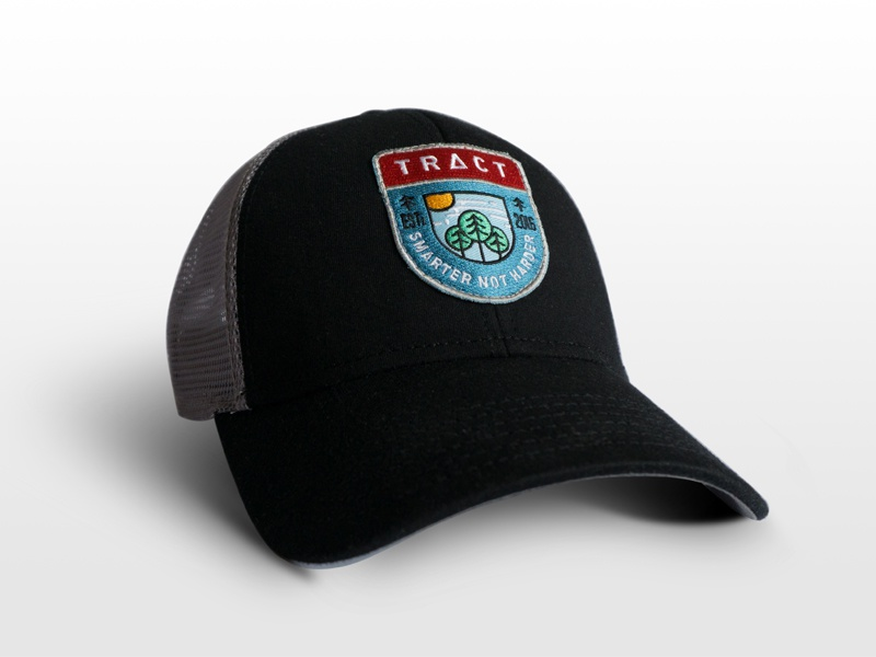 TRACT™ Hat din sun red blue forest tree swag cap black icons badge hat