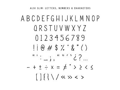 Free Font: ALDI SLIM typeface font handwritten handdrawn sans free typography freebie display type aldi glyphs