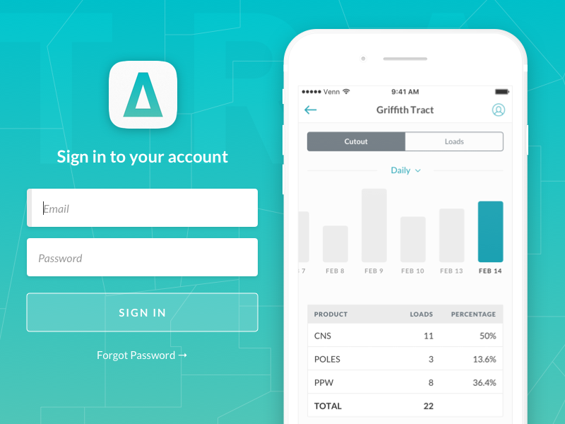 TRACT™ Loader App  tabs table bar graph login sign in ios ux ui gradient teal iphone lato