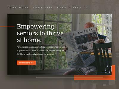 Hero Panel assisted living ui google fonts care senior drop shadow orange domine source sans pro web design website hero