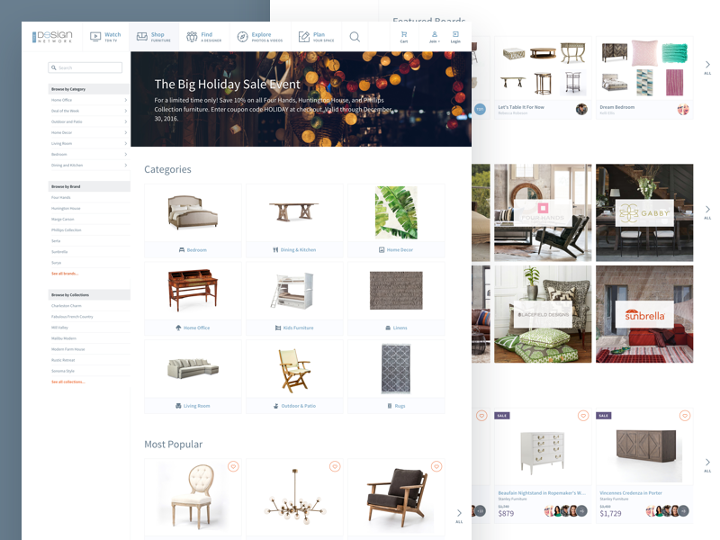 TDN Shop (Main) website ux ui furniture tiles source sans pro grid online store shop