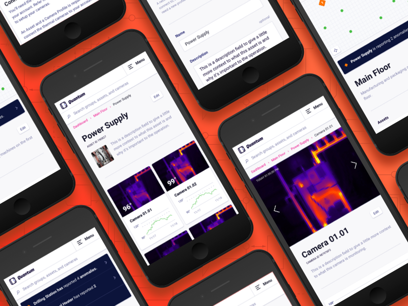 Mobile Web App UI web app ui ux thermal heat purple orange mobile iphone camera graph