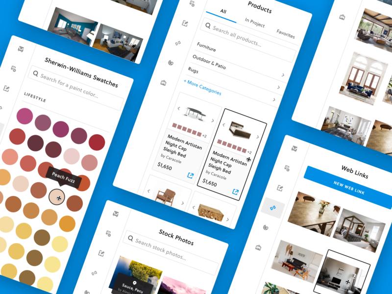 Moodboard Creator furniture website web app sidebar cards tiles colors links blue create software creator panels panel ux ui moodboard
