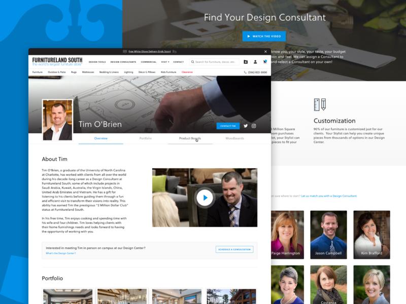 Design Consultant Profile tabs landing page portfolio furniture blue consultant designer profile