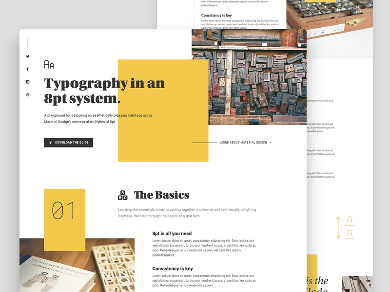 8pt Grid Experimentation type roboto utopia grid typography yellow square roboto condensed history roboto mono unsplash streamline icons streamline icons black lines landing page ui website page concept material design