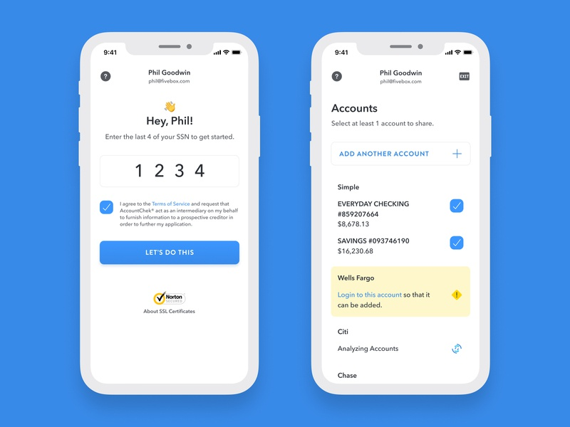 AccountChek UI Redesign checkbox error borrower lender emojis flow analyze logout financial institutions bank accounts sharing login ios mobile ux ui