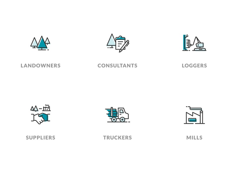 Smaller TRACT™️ Icons blue web woods mills iconset car truck building industry handshake logs clipboard forest trees tree icons icon ui teal line drawings