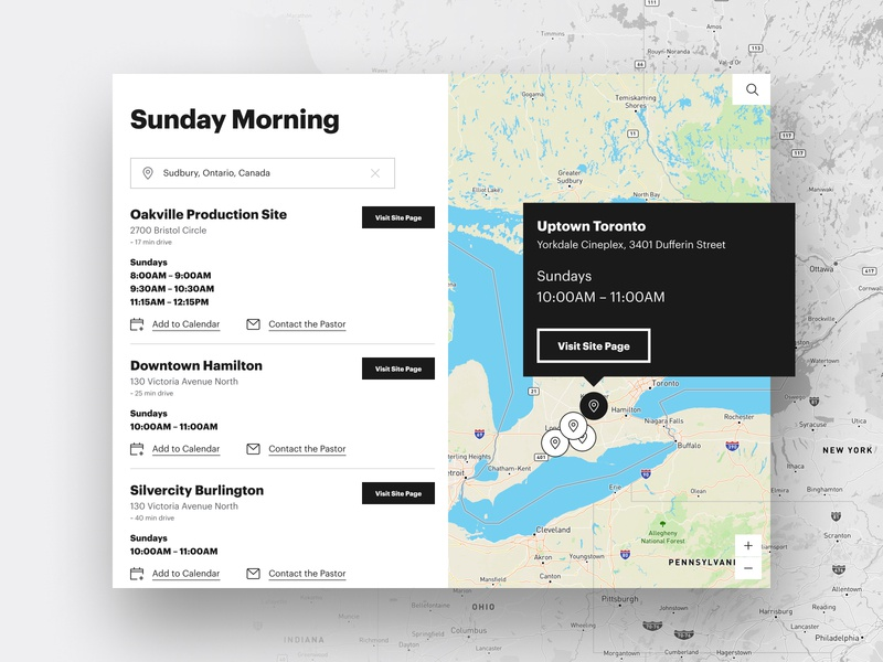 Site Searching time mapping sunday maps location list simple black and white white black clean modern graphik font graphik list view map view canada church search map