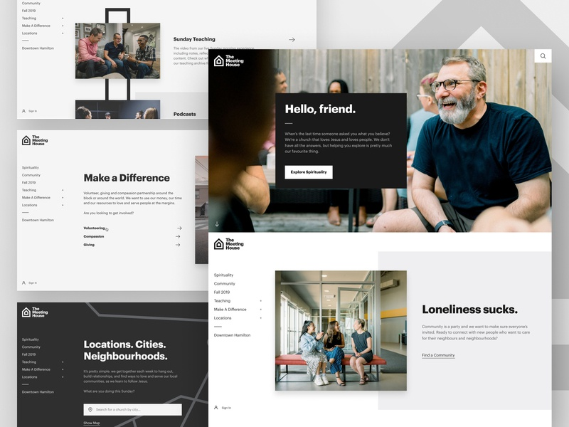 TMH Website Design paging website webpage graphik hero bold black and white web blocks modules modern clean side navigation web design ui ux photography bible church nucleo app