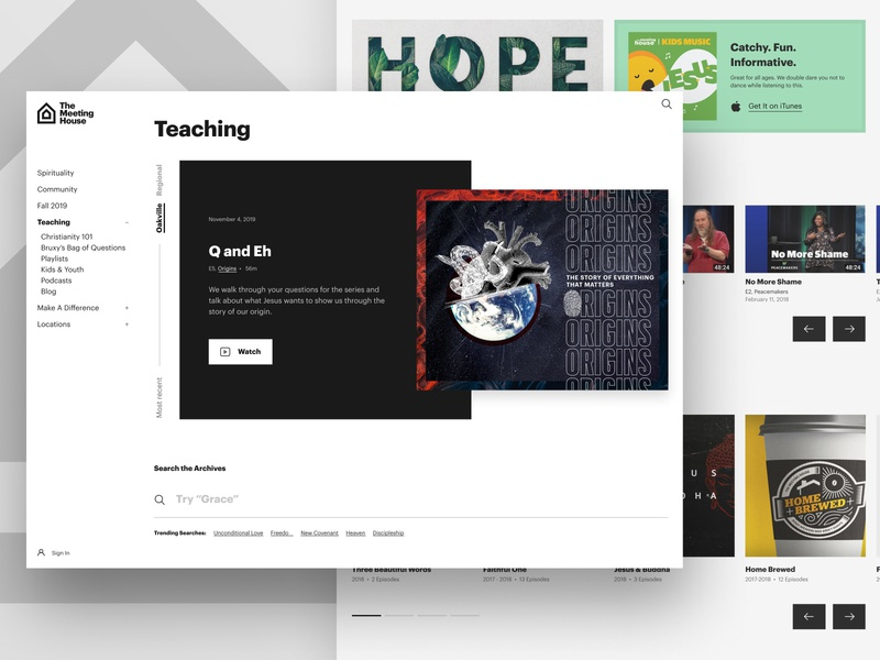 Teaching Index Page youtube video search graphik graphik font modern clean white black box teaching carousel grid index sidebar navigation white space negative space