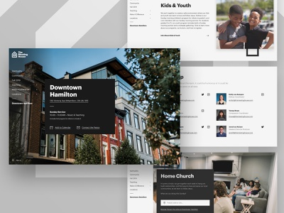 TMH Site Landing Page modules photography black and white bold hero webpage paging side navigation home church kids staff ui website church canada graphik font graphik modern simple clean