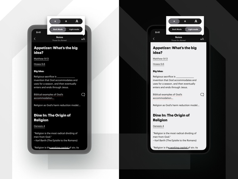 Notes - Light/Dark Mode text icon comment negative space graphik font graphik clean black and white black white light switch toggle popover ux ui native app ios dark mode light mode