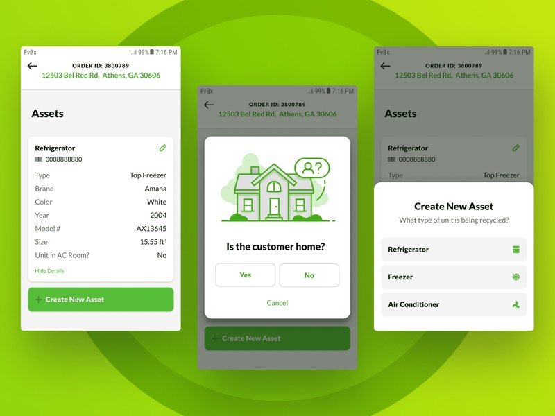 Create New Asset new create android app design recycle modal data table illustration green select ui ux android app android lato