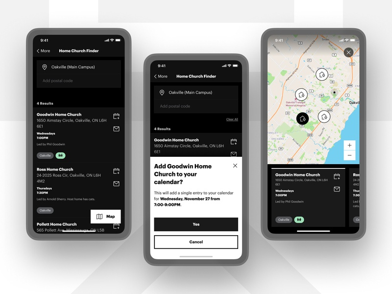 Home Church Finder clean church minimal house native app app ux ui ios list list view icons graphik font graphik modal white black location map find