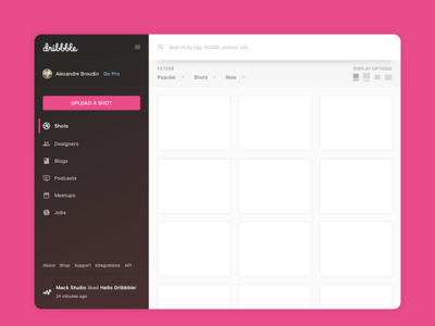 Dribbble quick redesign search sidebar redesign dribbble sketch ux ui