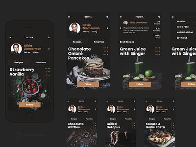Tubik Studio | BuonApp swipe photo profile dark black food flat interface app ios ux ui