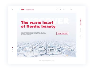Tubik Studio | Ice nordic iceland animation motion minimal red white interface web ux ui