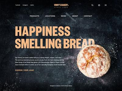 Tubik Studio | Vinny's Bakery bakery shop photo minimal home landing dark black interface web ux ui