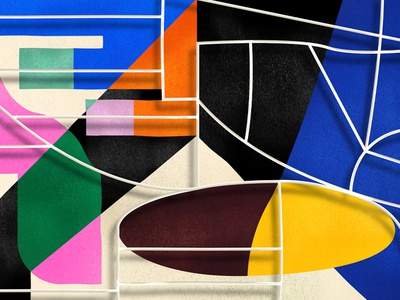 A painting behind a claustra. contrast grid geometry color abstract illustration