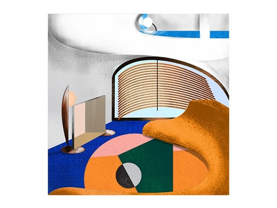 An interior in a rounded house architecture midcentury interior design colors pattern illustration