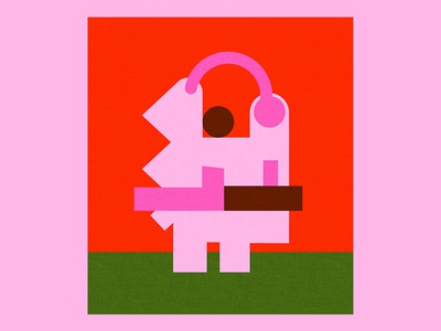 Someone messed with the pig ! playful contrast colors abstraction illustration pink pig