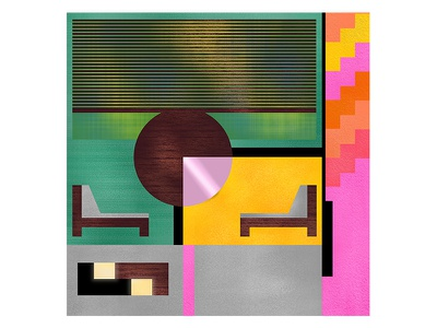 Flat flat architecture midcentury interior design geometry colors pattern illustration