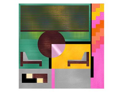 Flat flat architecture midcentury interior design geometry colors pattern illustration