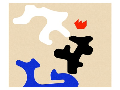Fire in the morning abstract blue colors shapes illustration