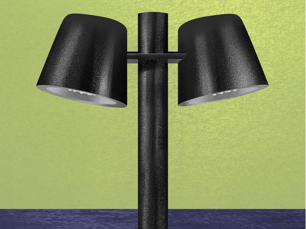 Lamp on green background shiny black chrome green texture lamp object design colors illustration
