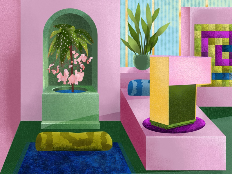 My lampe Teinte #2 in a Indian house abstract leaves color interaction texture tropical plants flower house maximalism architecture interior design design colors illustration