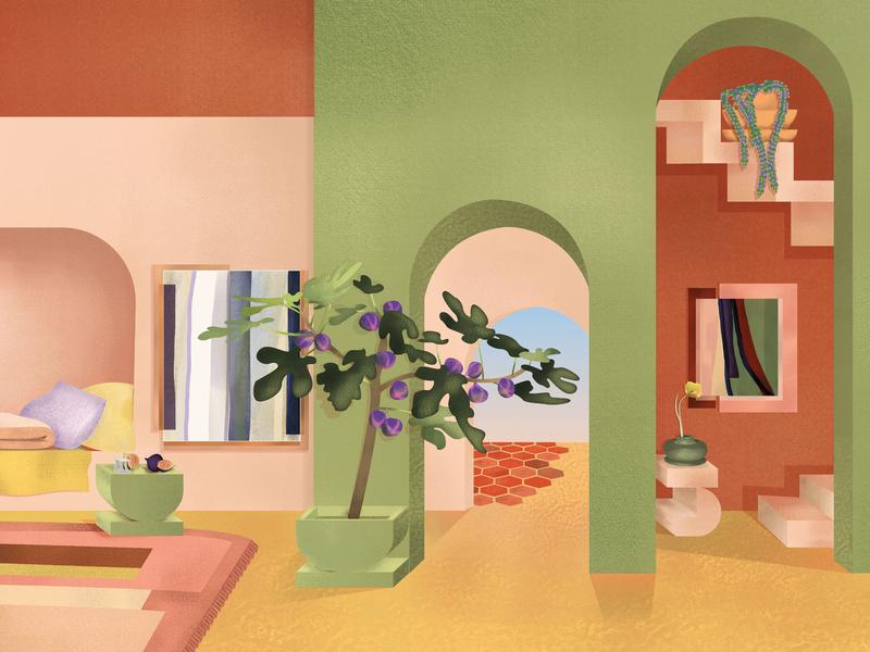 The Villa Tayn poster interior design dreamy memphis plant green pink desert interiors colors illustration