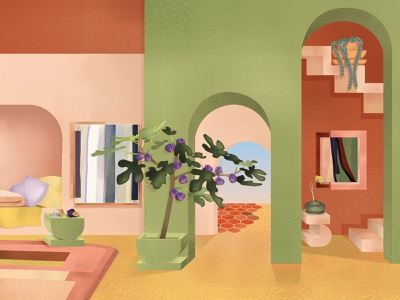 The Villa Tayn poster interior design dreamy memphis plant green pink desert interiors colors illustration
