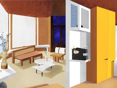 Sculptural house yellow beige colors interiors modernism volume perspective interior design design color illustration