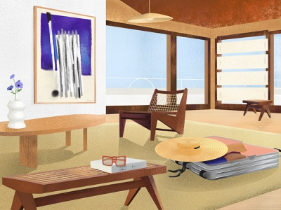 Traveling with purpose view windows table chair hat art glasses jeanneret modern jaquemus interior design interior perspective modernism color rimowa illustration
