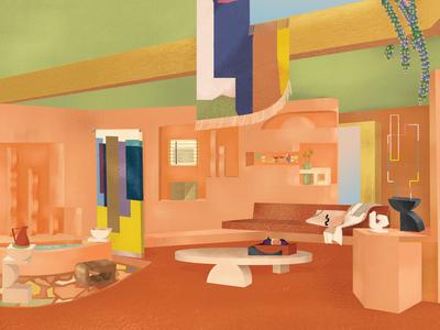 Atrium of the Villa Tayn objects interiors house sculpture sunny textured texture textures desert design interior design colors illustration