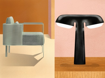 Armchair and table lamp* color palette nude beige pink textures render object magazine design wallpaper magazine magazine design interior design colors illustration