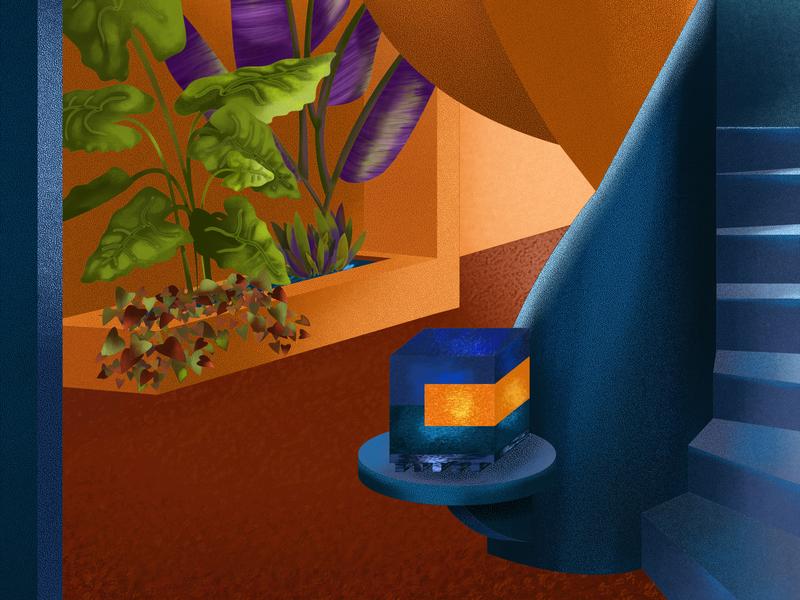 Garden corridor orange blue stairs texture design volume plants leaves colors color interior design illustration