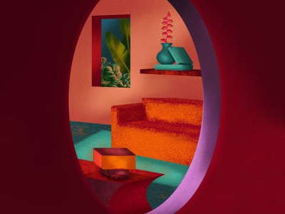 Jungle window sofa rooms round window purple red orange tropical leaves constrast night summer plants tropical hot colors texture leaves design interior design color illustration