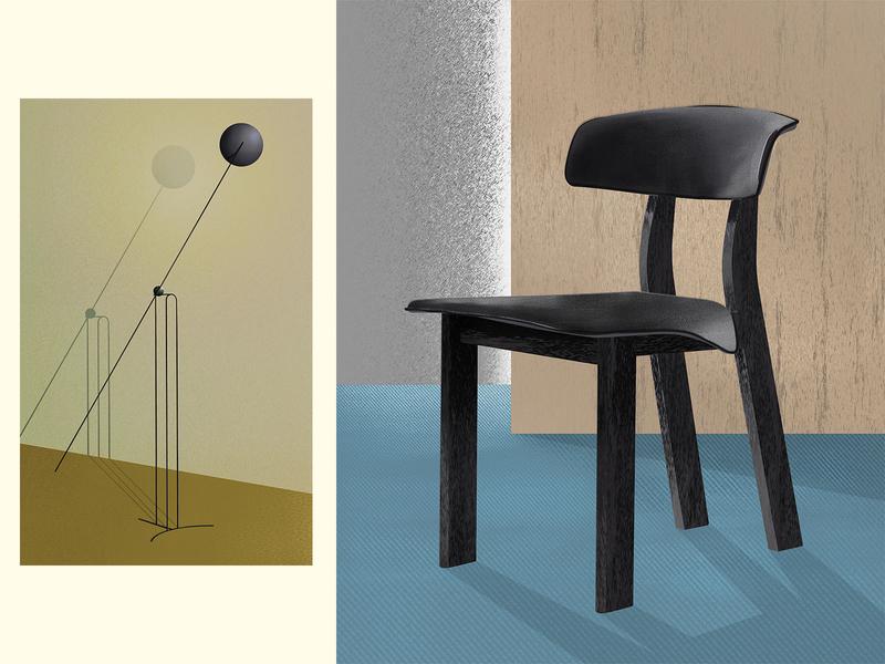 Lamp & chair* gold blue black carpet chrome metal wood volume shadow light lamp chair object render texture colors design interior design illustration