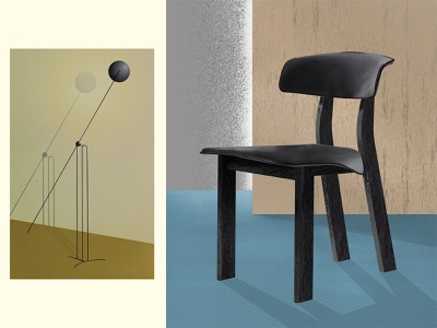 Lamp & chair* gold blue black carpet chrome metal wood volume shadow light lamp chair object render texture colors design interior design illustration