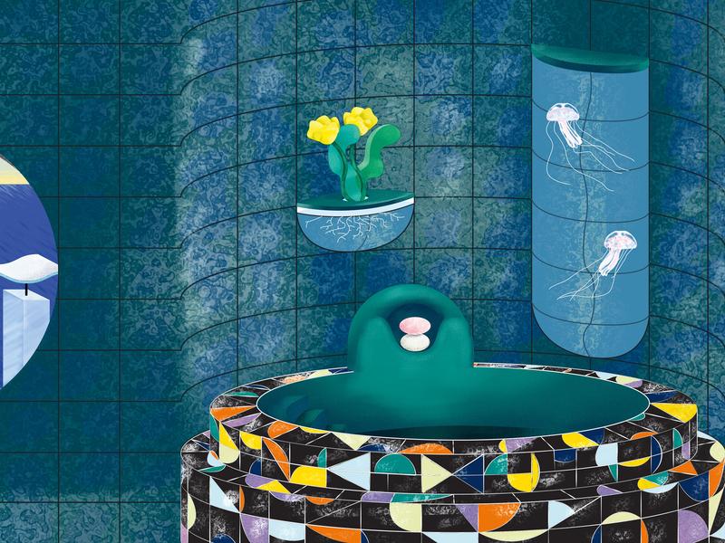 Villa Vaguelette jacuzzi fish tank aquarius aquatic aquarium render summer yellow flower jellyfish medusa mosaic ocean sea pool jacuzzi colors texture design interior design illustration