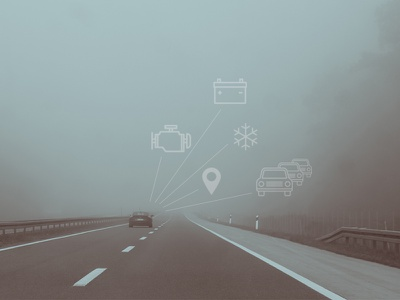 Connected cars road connected icons illustrations symbols pictogram car