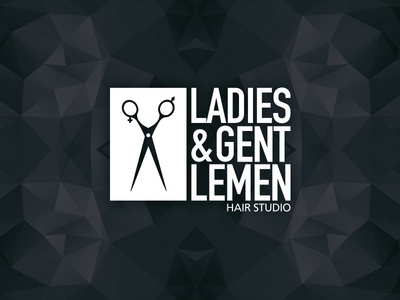 Hair Studio Logo logo logotype male female gender hair salon hair studio scissors ladies gentlemen