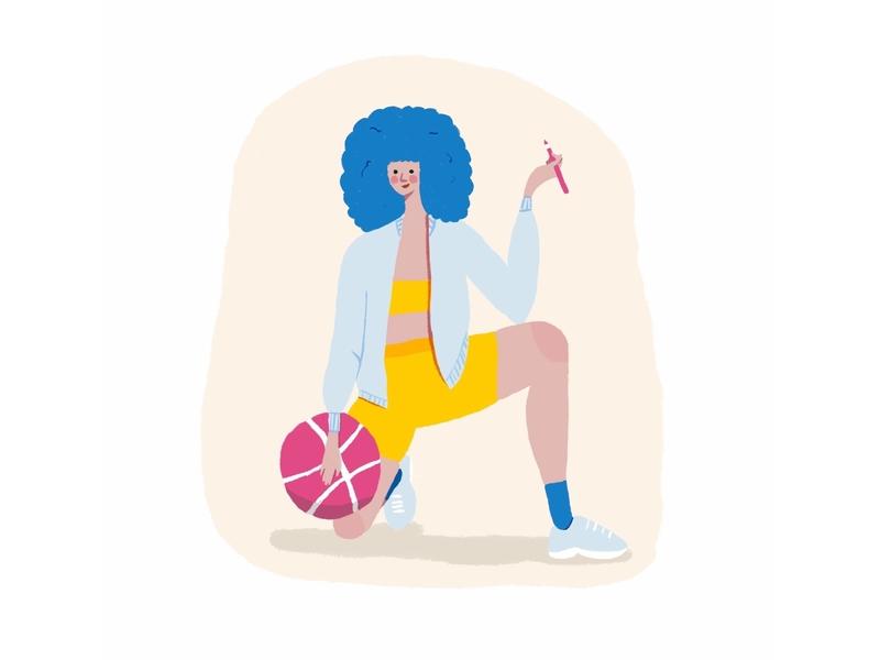 Dribbble Invite! artist sport ball basketball girl simple design procreate digitalart cute colorful character 2d flat illustration invite dribbble dribbble invite
