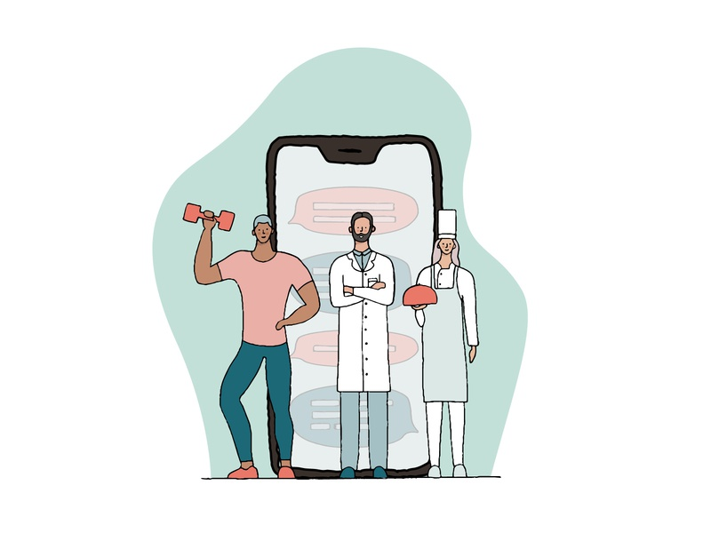 Easy access to expert care phone application coach chef doctor simple procreate digitalart vector colorful character 2d flat dribbble illustration