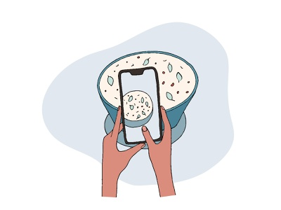 Personalized Diet Design hands illustrator photo phone food design simple vector 2d flat dribbble illustration