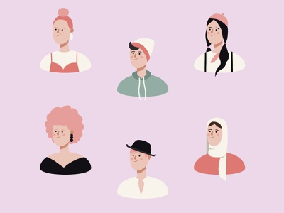 Characters | Illustrations pink adobeillustator portrait simple colorful stickers characterdesign vector character flat 2d dribbble illustration